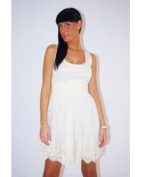 Vestido blonda cruda bordada